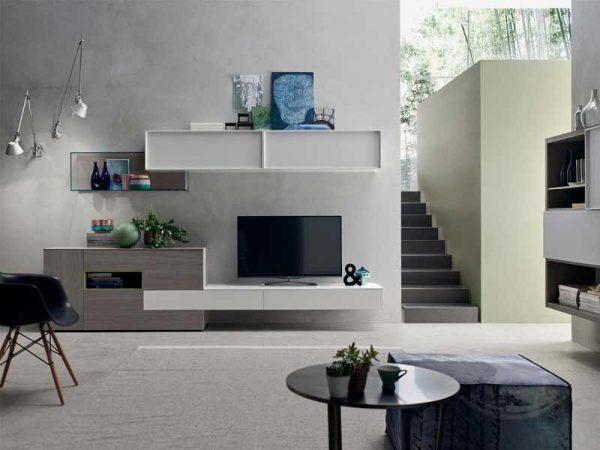 parete soggiorno componibile grigio