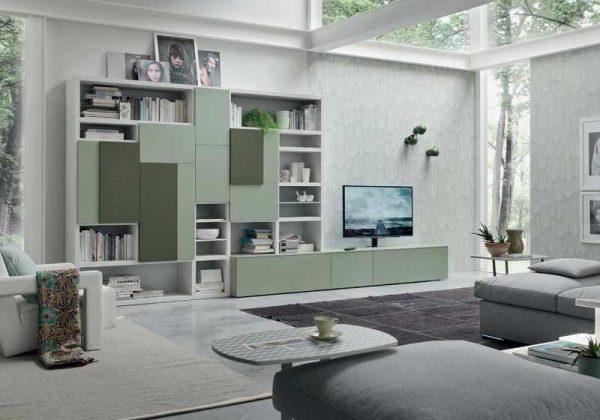 parete soggiorno componibile verde